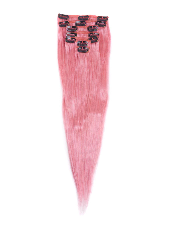 Pink(#Pink) Deluxe Straight Clip In Human Hair Extensions 7 Pieces cih125 1
