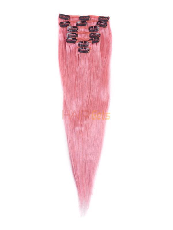 Pink(#Pink) Deluxe Straight Clip In Human Hair Extensions 7 Pieces 1