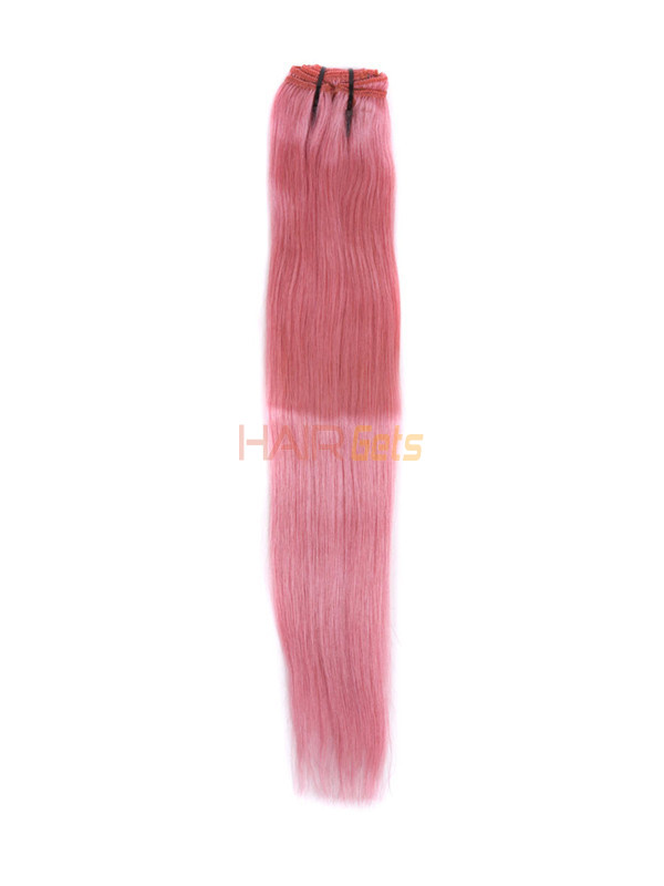 Pink(#Pink) Deluxe Straight Clip In Human Hair Extensions 7 Pieces 2