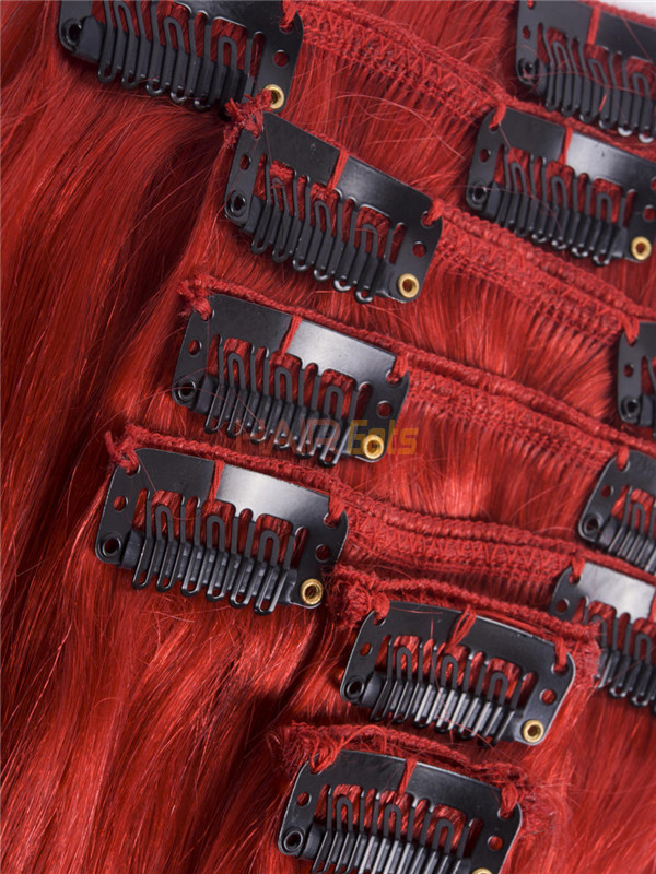 Red(#Red) Deluxe Straight Clip In Human Hair Extensions 7 Pieces 0