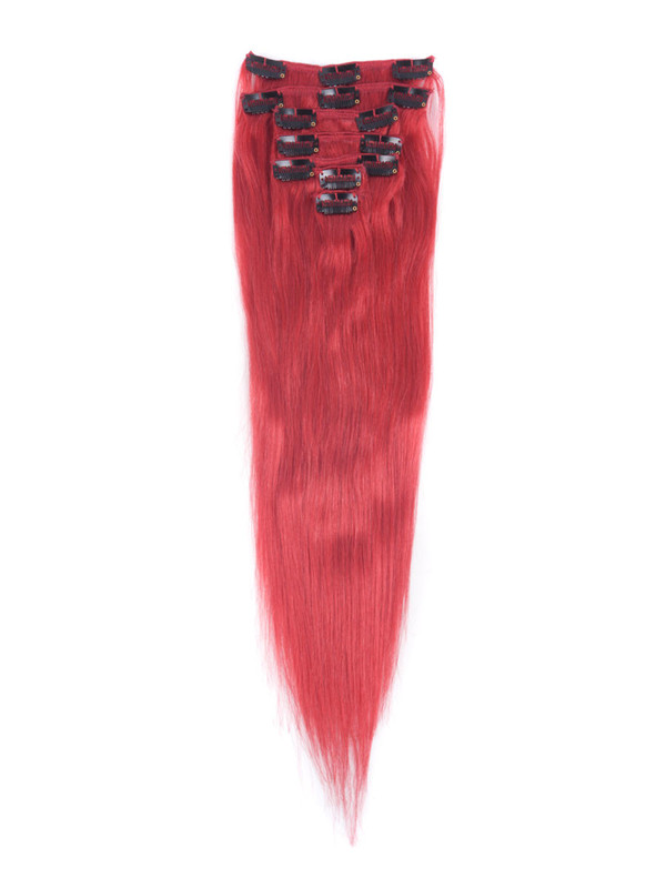 Red(#Red) Deluxe Straight Clip In Human Hair Extensions 7 Pieces cih128 1