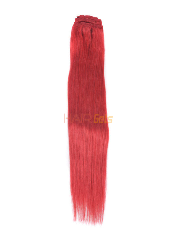 Red(#Red) Deluxe Straight Clip In Human Hair Extensions 7 Pieces 2