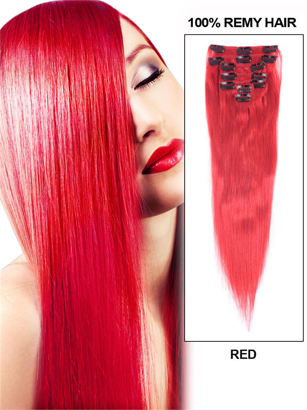 Red(#Red) Deluxe Straight Clip In Human Hair Extensions 7 Pieces cih128 3