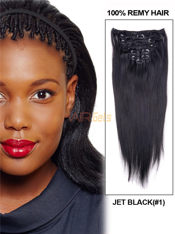 Jet Black(#1) Straight Ultimate Clip In Remy Hair Extensions 9 Pieces 0