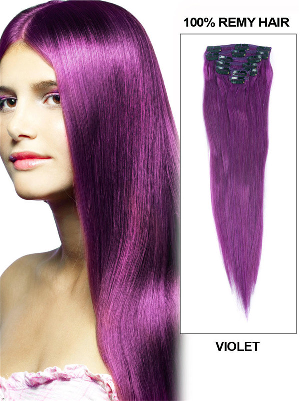 Violet(#Violet) Deluxe Straight Clip In Human Hair Extensions 7 Pieces cih131 0