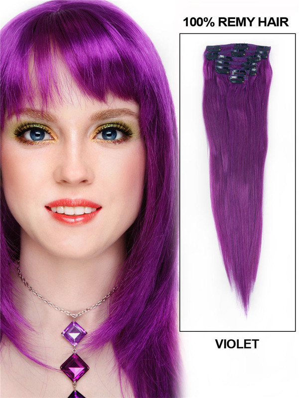 Violet(#Violet) Deluxe Straight Clip In Human Hair Extensions 7 Pieces cih131 1