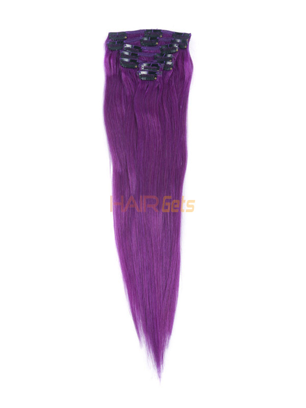 Violet(#Violet) Deluxe Straight Clip In Human Hair Extensions 7 Pieces 2