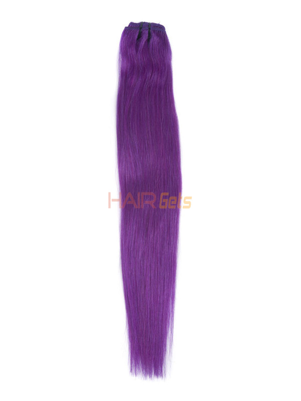 Violet(#Violet) Deluxe Straight Clip In Human Hair Extensions 7 Pieces 3