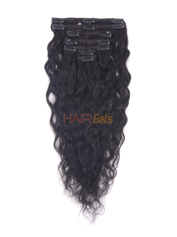 Jet Black(#1) Premium Kinky Curl Clip In Hair Extensions 7 Pieces 0