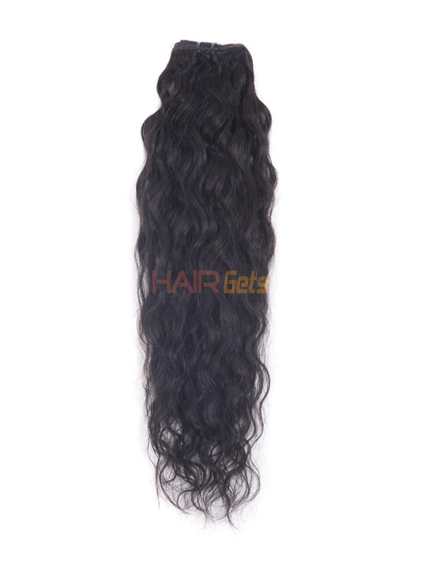 Jet Black(#1) Premium Kinky Curl Clip In Hair Extensions 7 Pieces 1