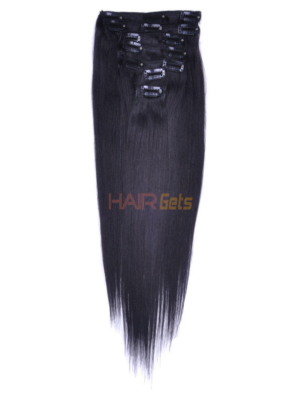 Natural Black(#1B) Premium Silky Straight Clip In Hair Extensions 7 Pieces 0