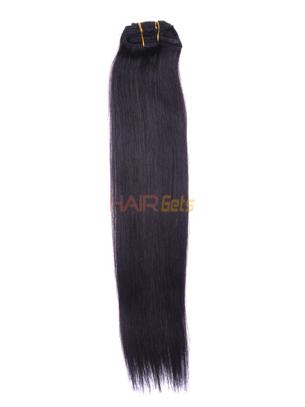 Natural Black(#1B) Premium Silky Straight Clip In Hair Extensions 7 Pieces 1