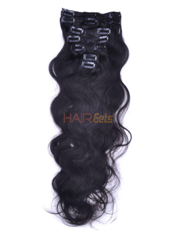 Natural Black(#1B) Premium Body Wave Clip In Hair Extensions 7 Pieces 1