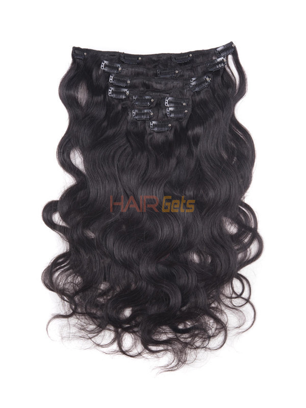 Natural Black(#1B) Ultimate Body Wave Clip In Remy Hair Extensions 9 Pieces 0