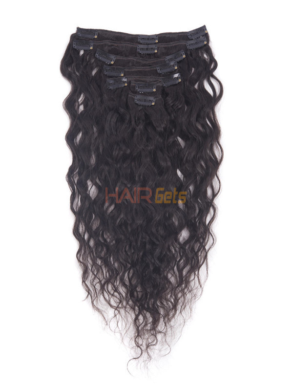 Natural Black(#1B) Deluxe Kinky Curl Clip In Human Hair Extensions 7 Pieces 0
