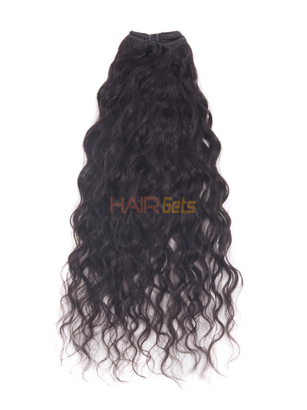 Natural Black(#1B) Deluxe Kinky Curl Clip In Human Hair Extensions 7 Pieces 1