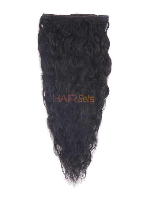 Natural Black(#1B) Deluxe Kinky Curl Clip In Human Hair Extensions 7 Pieces 2