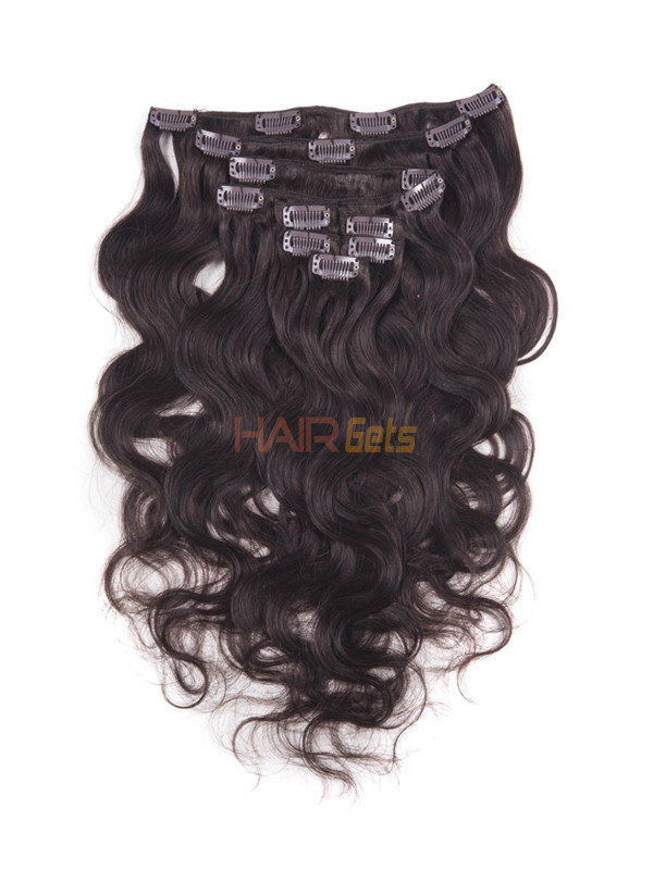 Dark Brown(#2) Ultimate Body Wave Clip In Remy Hair Extensions 9 Pieces 0