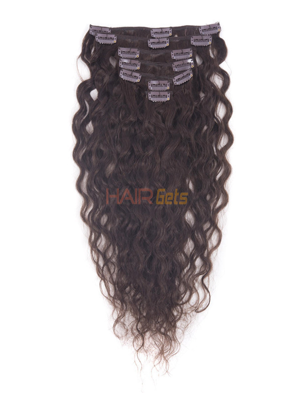 Dark Brown(#2) Deluxe Kinky Curl Clip In Human Hair Extensions 7 Pieces-np 0