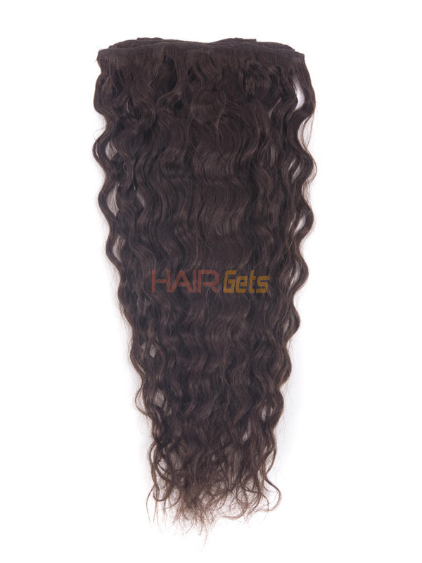 Dark Brown(#2) Deluxe Kinky Curl Clip In Human Hair Extensions 7 Pieces-np 1