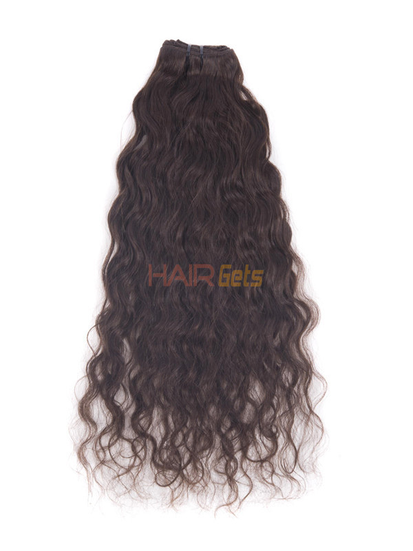 Dark Brown(#2) Deluxe Kinky Curl Clip In Human Hair Extensions 7 Pieces-np 2