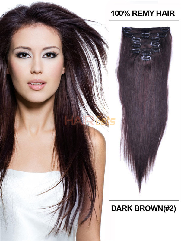 Dark Brown(#2) Premium Silky Straight Clip In Hair Extensions 7 Pieces 0
