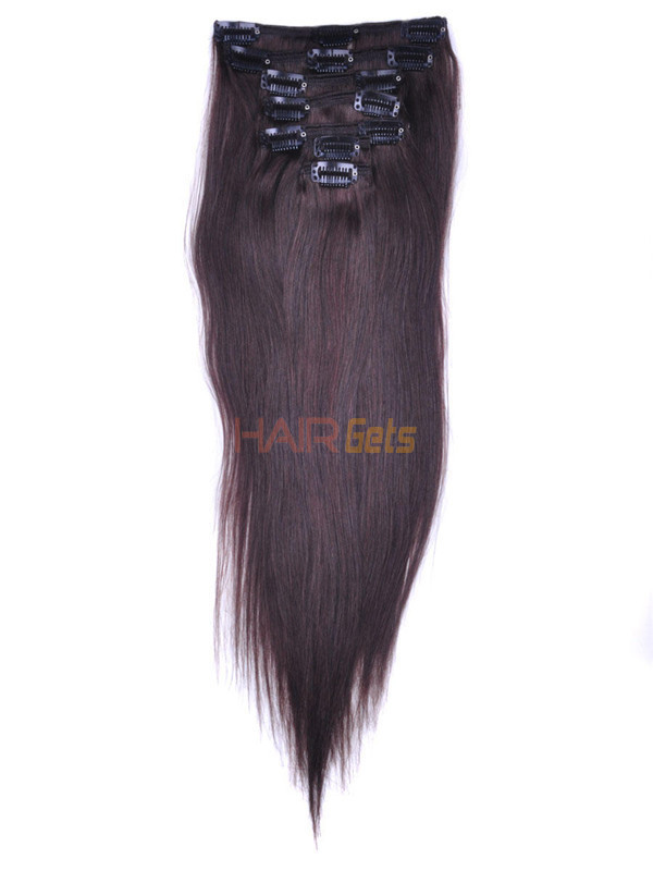 Dark Brown(#2) Premium Silky Straight Clip In Hair Extensions 7 Pieces 1