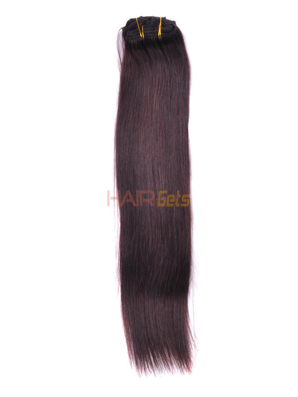 Dark Brown(#2) Premium Silky Straight Clip In Hair Extensions 7 Pieces 2