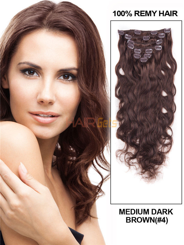 Medium Brown(#4) Ultimate Body Wave Clip In Remy Hair Extensions 9 Pieces 0