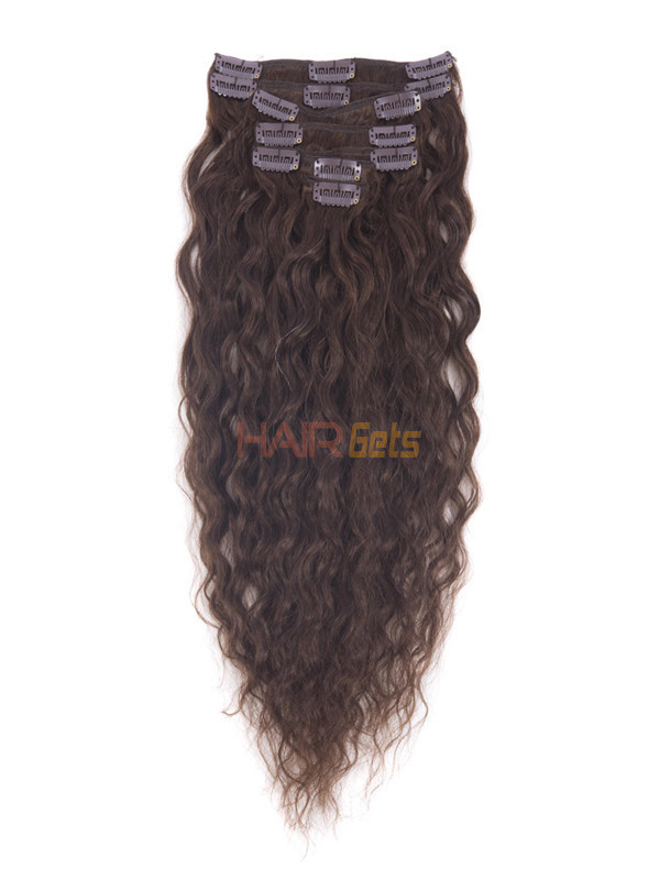 Medium Brown(#4) Premium Kinky Curl Clip In Hair Extensions 7 Pieces 0