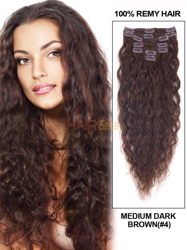 Medium Brown(#4) Premium Kinky Curl Clip In Hair Extensions 7 Pieces 1