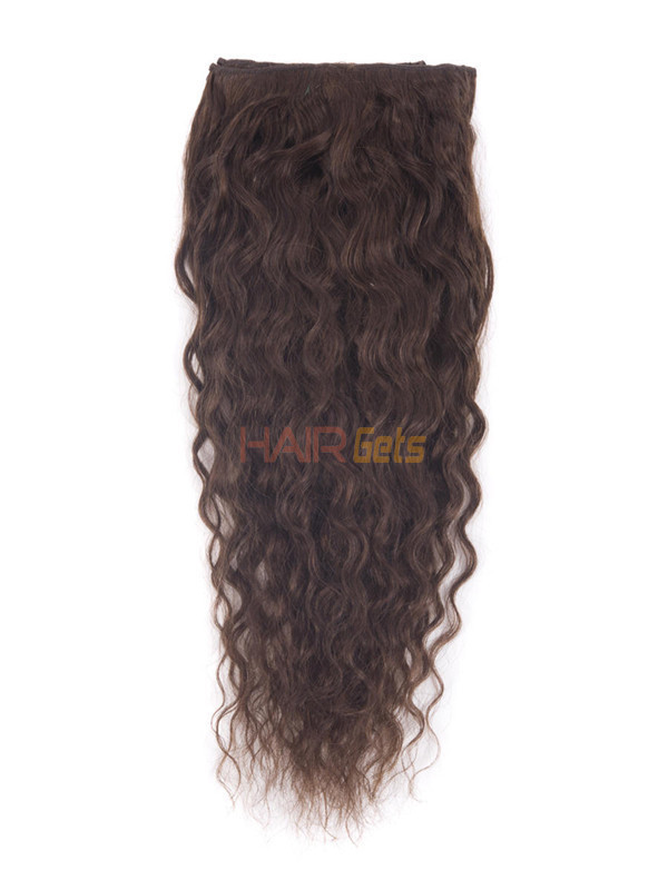 Medium Brown(#4) Premium Kinky Curl Clip In Hair Extensions 7 Pieces 2