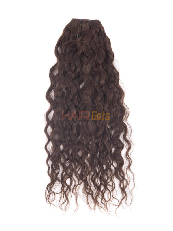 Medium Brown(#4) Premium Kinky Curl Clip In Hair Extensions 7 Pieces 3