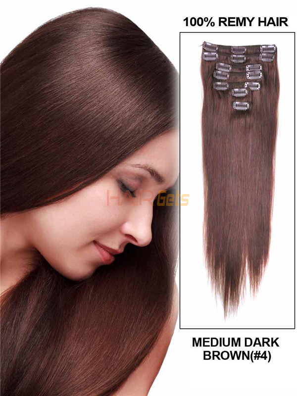 Medium Brown(#4) Deluxe Straight Clip In Human Hair Extensions 7 Pieces 0