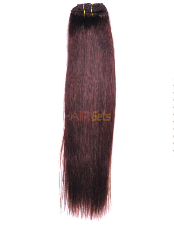 Medium Brown(#4) Deluxe Straight Clip In Human Hair Extensions 7 Pieces 1