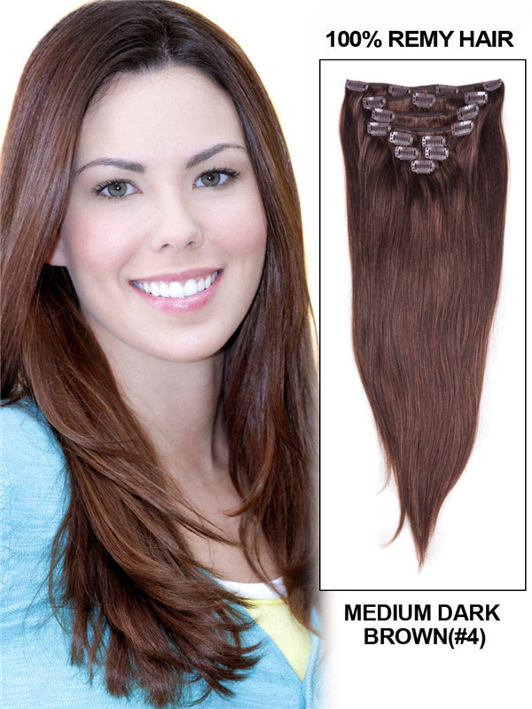 Medium Brown(#4) Ultimate Straight Clip In Remy Hair Extensions 9 Pieces cih036 0