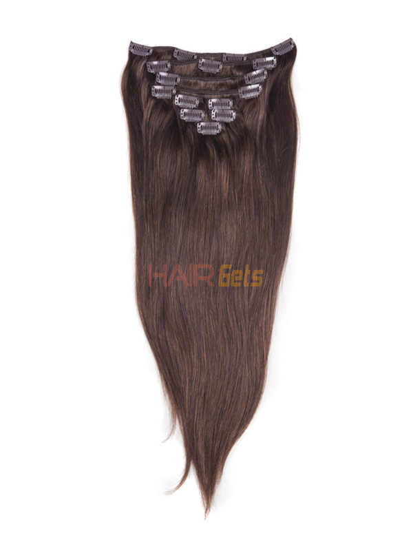 Medium Brown(#4) Ultimate Straight Clip In Remy Hair Extensions 9 Pieces 1