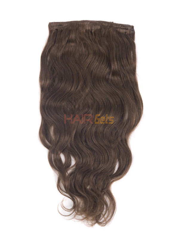 Medium Chestnut Brown(#6) Premium Body Wave Clip In Hair Extensions 7 Pieces 4