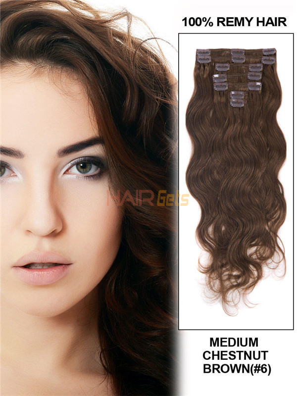 Medium Chestnut Brown(#6) Deluxe Body Wave Clip In Human Hair Extensions 7 Pieces 0