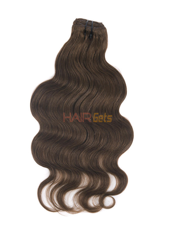 Medium Chestnut Brown(#6) Deluxe Body Wave Clip In Human Hair Extensions 7 Pieces 2