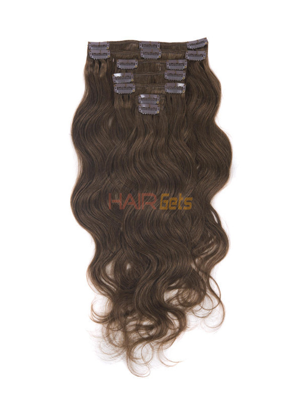 Medium Chestnut Brown(#6) Deluxe Body Wave Clip In Human Hair Extensions 7 Pieces 3