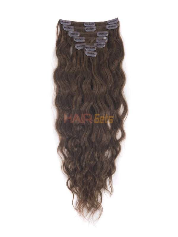Medium Chestnut Brown(#6) Deluxe Kinky Curl Clip In Human Hair Extensions 7 Pieces 0