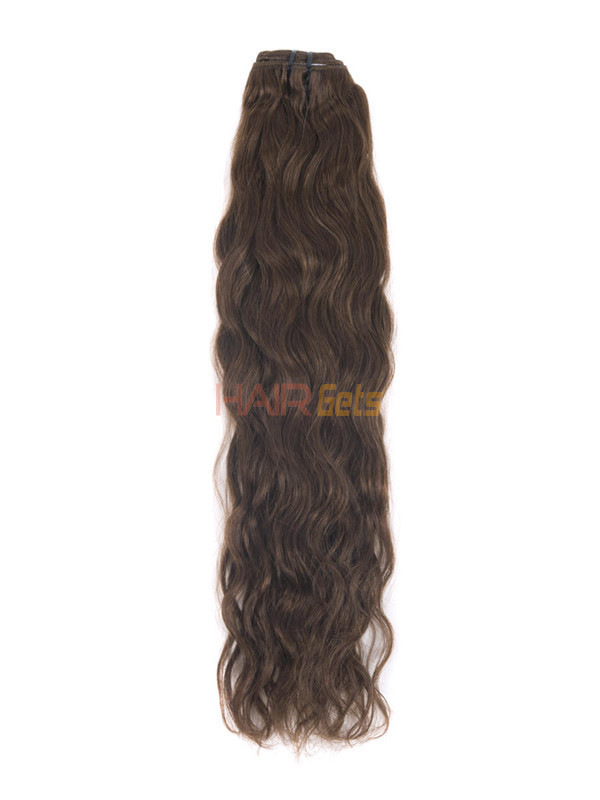 Medium Chestnut Brown(#6) Deluxe Kinky Curl Clip In Human Hair Extensions 7 Pieces 2