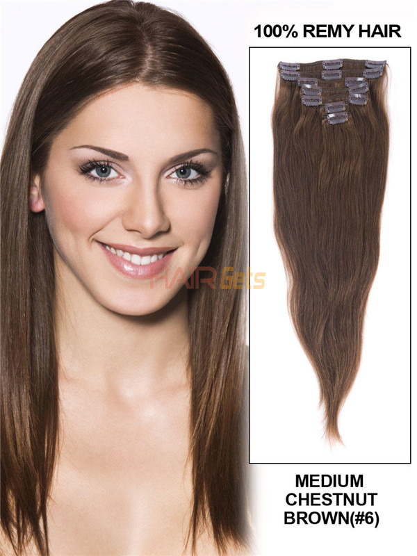 Medium Chestnut Brown(#6) Deluxe Straight Clip In Human Hair Extensions 7 Pieces 0