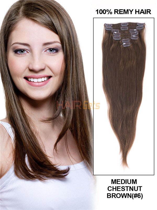 Medium Chestnut Brown(#6) Deluxe Straight Clip In Human Hair Extensions 7 Pieces 1