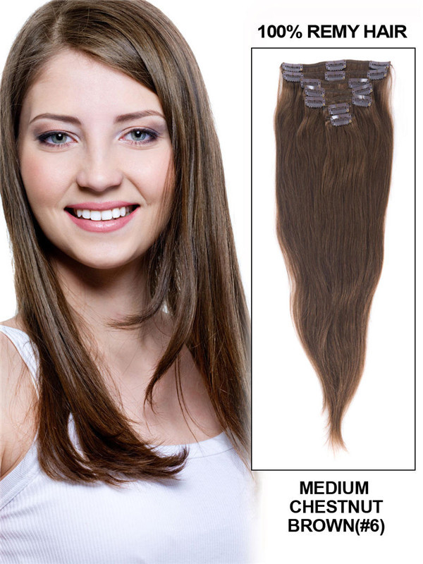 Medium Chestnut Brown(#6) Deluxe Straight Clip In Human Hair Extensions 7 Pieces cih044 1