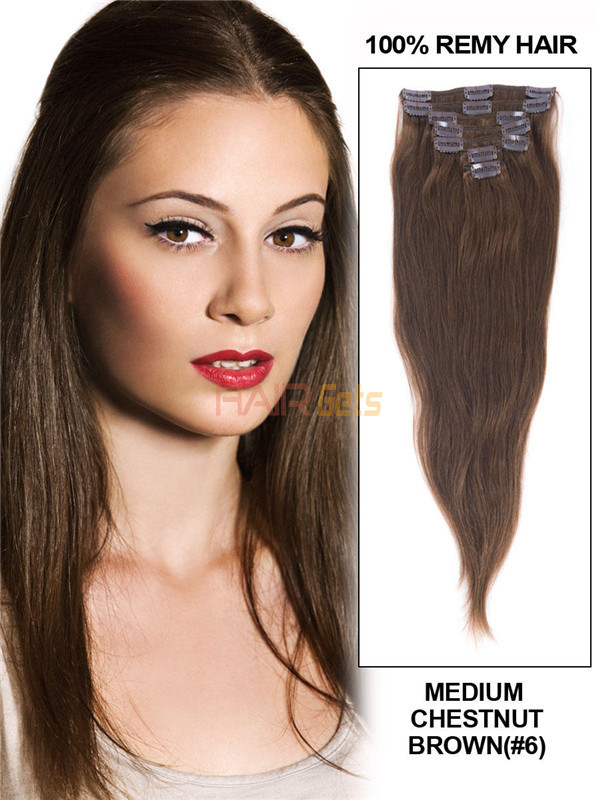 Medium Chestnut Brown(#6) Deluxe Straight Clip In Human Hair Extensions 7 Pieces 2
