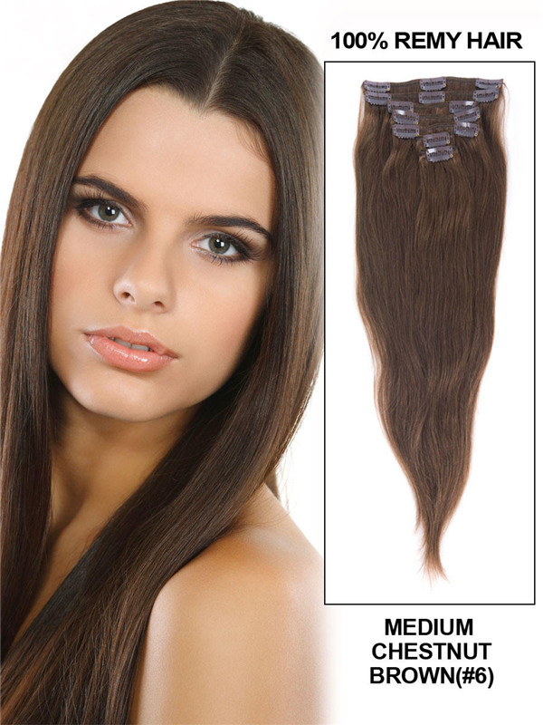 Medium Chestnut Brown(#6) Deluxe Straight Clip In Human Hair Extensions 7 Pieces cih044 3