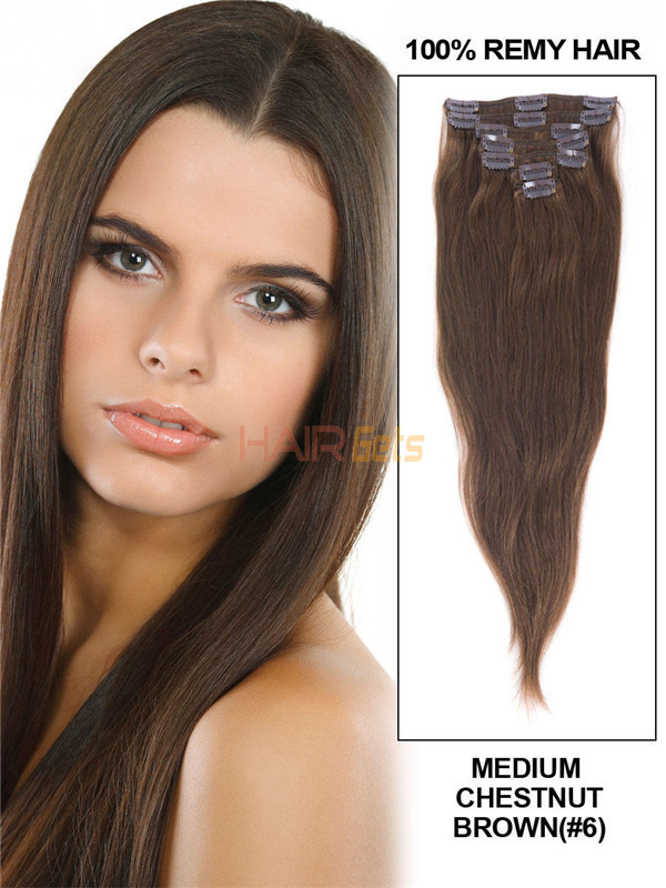 Medium Chestnut Brown(#6) Deluxe Straight Clip In Human Hair Extensions 7 Pieces 3