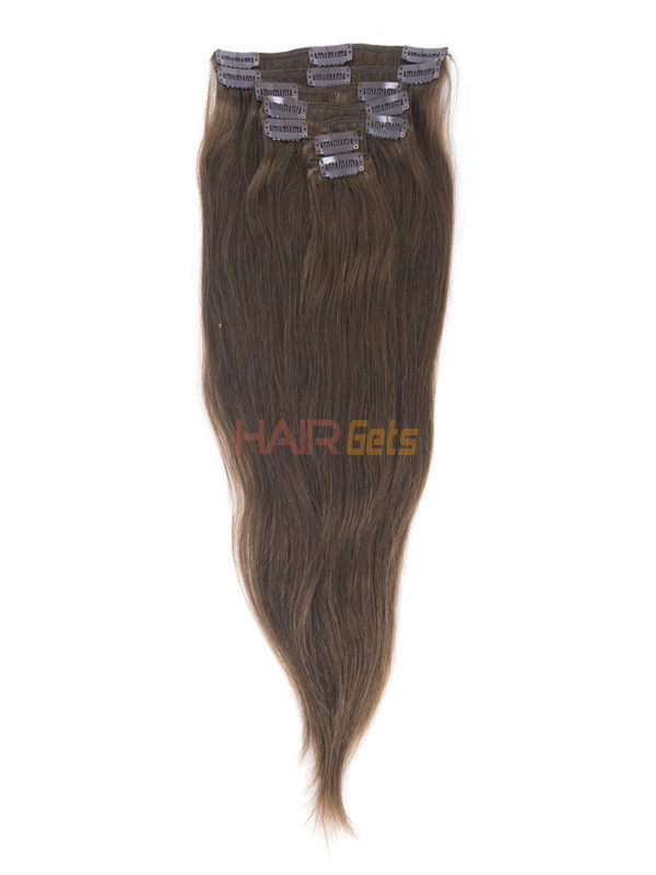 Medium Chestnut Brown(#6) Deluxe Straight Clip In Human Hair Extensions 7 Pieces 4